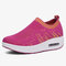 Women Knitted Breathable Sports Casual Cushioned Slip On Sneakers - Red