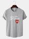 メンズコットンスローガンハートプリントカーブドヘムスポーツスタイル半袖Tシャツ - グレー