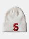 ユニセックスニットウールSレターパターン刺繡ビーニーハットニット帽 - ホワイト1#