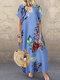 Casual Flowers Print Short Sleeve Plus Size Dress - Blue