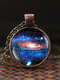Vintage Glass Gem Women Necklace Universe Starry Sky Pendant Necklace Jewelry - #12