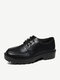 Women Brief Lace-up Solid Color Veins Round Toe Loafers Shoes - Matte