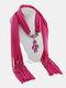 Vintage Women Scarf Necklace Solid Color Leaf Pendant Shawl Necklace - #07