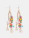 Bohemia Handmade Woven Women Earrings Pearl Turquoise Tassel Pendant Earrings - Camel