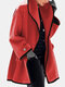 Solid Color Long Sleeve Lapel Collar Casual Coat For Women - Red
