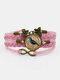 Vintage Wwoven Printed Bird Women Bracelet Multilayer Butterfly Pendant Bracelet - Pink