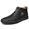 Menico Men Microfiber Leather Hand Stitching Non Slip Casual Ankle Boots - Black