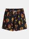Mens Vintage Polka Dot Print Classic Drawstring Beach Swim Trunks With Pocket - Black