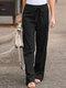 Elastic Waist Bowknot Straight Vintage Plus Size Pants - Black