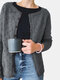 Solid Color Hollow Out Long Sleeve O-neck Button Cardigan - Grey