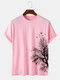 Mens Tree Graphics 100% Cotton Crew Neck Short Sleeve Casual T-Shirt - Pink