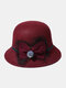 Women Woolen Cloth Solid Bowknot Decoration Outdoor Warmth Breathable Bucket Hat - Wine Red
