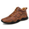 Men Hand Stitching Microfiber Leather Non Slip Soft Ankle Boots - Brown