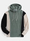 Mens Color Block Patchwork Jacquard Relaxed Fit Drawstring Hoodies - Blue