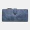Women 23 Card Slots Crocodile Pattern Long Wallet Purse Phone Bag - Navy Blue