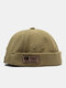 Unisex Cotton Solid Color Letter Fashion Outdoor Brimless Beanie Landlord Cap Skull Cap - Green