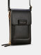 Multi-slots Flap Magnetic Button Stitch Detail Multi-pockets Touch Screen On The Back 7 Inch Phone Bag - Black
