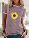 Sunflower Printed Casual Short Sleeve O-neck T-shirt - Pink