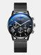 11 Colors Men Business Watch Leather Alloy Mesh Band Calendar Luminous Quartz Watch - #01