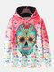 Mens Allover Skull Print Ombre Loose Pullover Long Sleeve Hoodies With Muff Pocket - Red