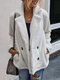 Solid Color Long Sleeve Turn-down Collar Pocket Coat For Women - White