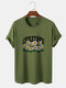 Mens Smile Flower Letter Printed 100% Cotton Short Sleeve T-Shirts - Green