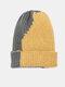 Unisex Knitted Color-match Irregular Patchwork All-match Warmth Beanie Hat - Dark Gray+Yellow