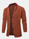 Mens Single Breasted Patchwork Knitted Long Sleeve Cardigan Sweater - Brown