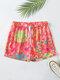 Plus Size Women Floral Print Home Shorts Drawstring Pajamas Bottoms - Red