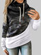 Camouflage Prined Long Sleeve Pile Collar Patchwork Sweatshirt For Women - Black