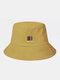 ユニセックスコットンソリッドカラーレタースモールカラーブロックパターンプリントオールマッチサンシェードバケットハット - 黄