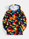 Mens Camo Fluffy Plush Cotton Teddy Hoodies With Pouch Pocket - Blue