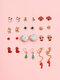 12 Pcs Christmas Ear Stud Set Christmas Stocking Gift Star Wand Elk Tassel Earrings - Gold