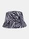 Women Cotton Linen Double-sided Wearable Zebra Cow Panda Pattern Print All-match Sunscreen Bucket Hat - #01