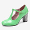 Women Solid Color T-Strap Geometric Graphic Chunky Heel Pumps - Green