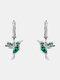 Alloy Cute Micro-set Bird-shape Earrings For Women - Green