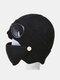 Men & Women Plus Velvet Thick Warm Neck Face Ear Protection Headgear Knitted Hat Mask Pilot Glasses - Black