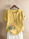 Flowers Print O-neck Plus Size T-shirt for Women - Yellow