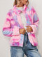 Tie-dyed Print Button Pockets Velet Casual Coats for Women - Rose