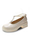 Women Casual Suquare Toe Pearl Chain Mary Jane Block Heels Shoes - Beige