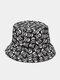 Unisex Cotton Overlay Cartoon Skull Flower Print Double-sided Wearable Fashion Sunscreen Bucket Hat - #05