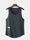 Mens Solid Color Character Print Breathable Loose Sleeveless Tank Top - Grey