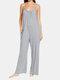 Adjustable Strap Plain Sleeveless Pocket Casual Plus Size Jumpsuit - Gray