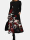 Casual Calico Print Long Sleeve Plus Size Cotton Dress for Women - Red