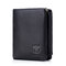 RFID Homens Couro de Vaca Trifold 15 Card Slot Wallet Solid Casual Coin Purse