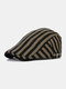 Men Cotton Linen Contrast Color Striped Pattern Retro Forward Hat Beret - Army Green