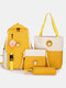 4 PCS Canvas Preppy Multifunction Combination Bag Tote Backpack Crossbody Clutch Wallet - Yellow