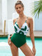 女性トロピカルリーフプリントツイストローカットOneピースホリデー水着 - 緑
