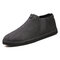 Men Warm Plush Lining Elastic Slip On Casual Ankle Boots - Gray