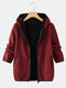 Casual Prismatic Long Sleeve Plus Size Hooded Coat - Wine Red